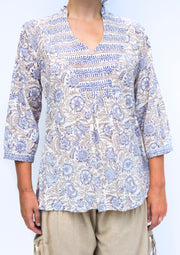 block printed top floating lotus