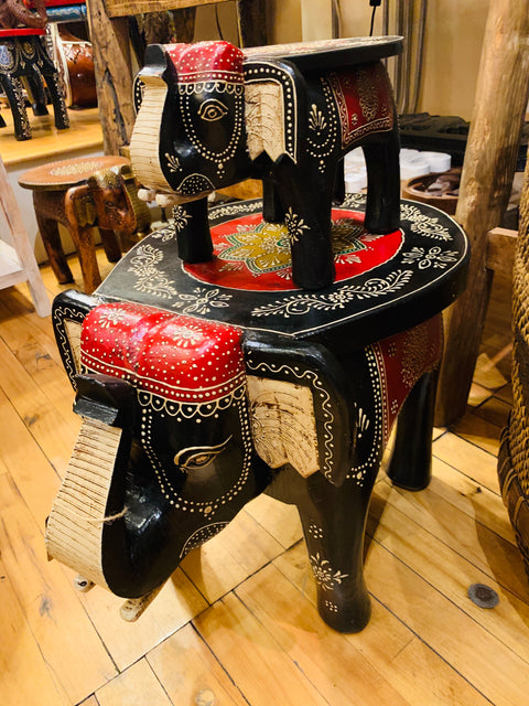 Elephant Stool-Painted - Floating Lotus