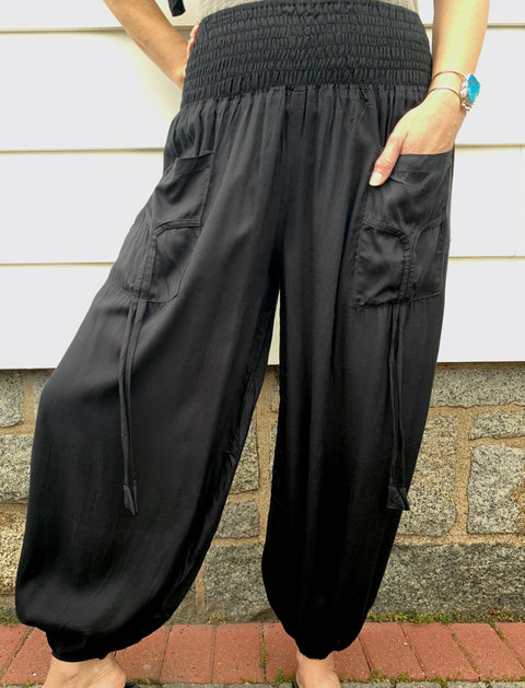 Black Harem Pants - Floating Lotus