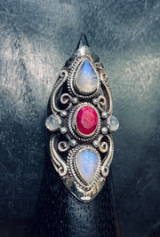 Moonstone and Ruby Ring