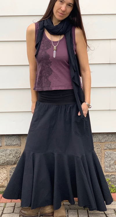 Cotton Skirt with Pockets - Floating Lotus