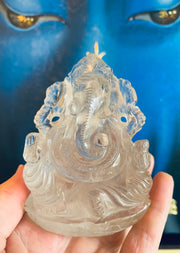 Ganesh Statue Himalayan Quartz Crystal - Floating Lotus