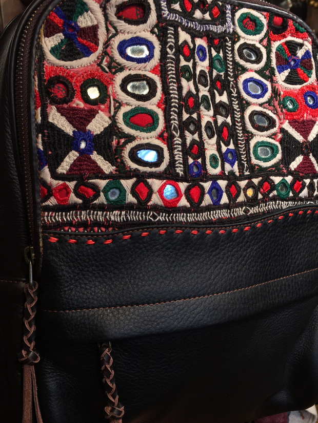 Black Leather and Mirror Embroidered Backpack