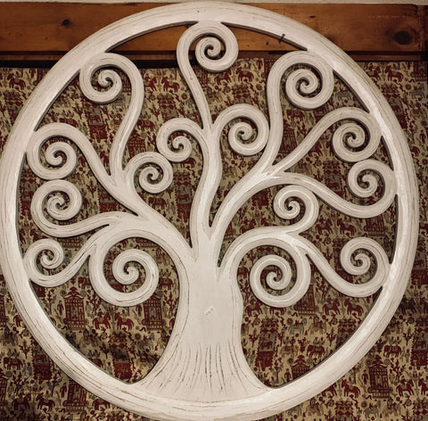 Tree of Life woodcarving - Floating Lotus