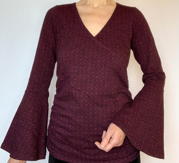 Organic Cotton Flared Sleeve Wrap Top
