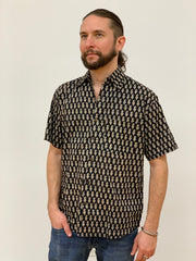 Men's Block Printed Cotton Shirt - Floating Lotus