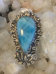 Larimar Lotus Pendant - Floating Lotus