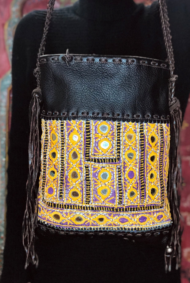 Dark Brown Leather and Mirror Textile Thai Handbag