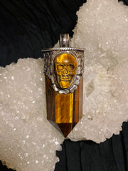 Tiger Eye Point Pendant with Hand-carved Skull