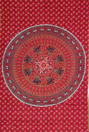 Red Elephant Mandala Tapestry - Twin Size