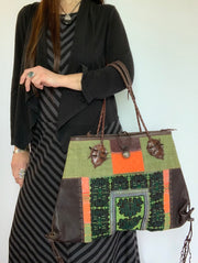 Leather and Hmong Patchwork Handbag