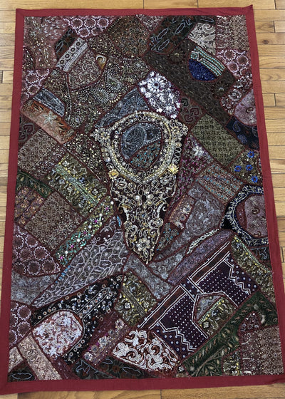 Large Dark Red Patchwork Tapestry