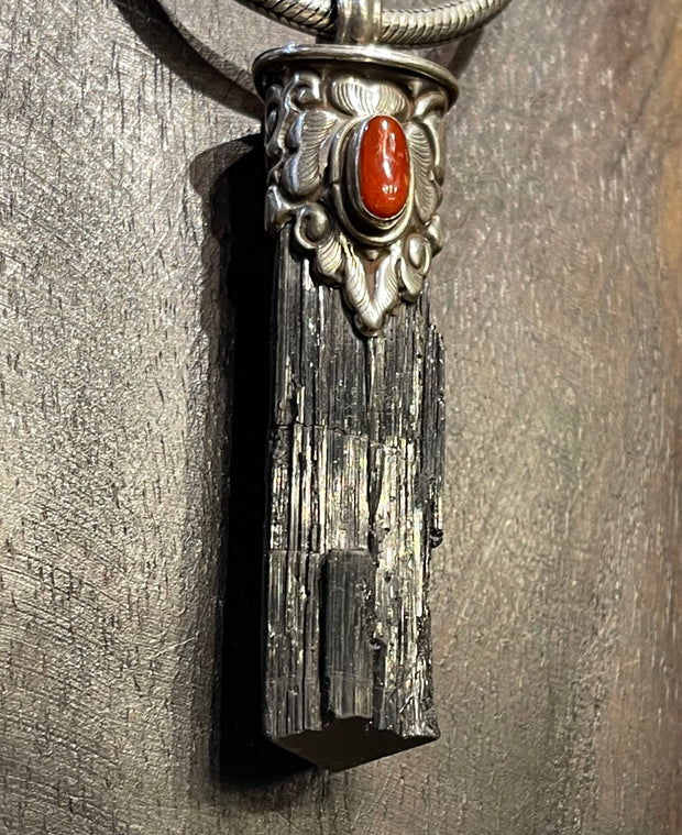 Black Tourmaline with Coral Healing Pendant