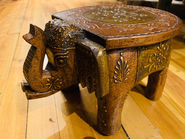 Elephant Stool-Brass and Copper - Floating Lotus