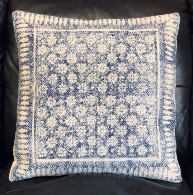 Blue & White Floral Block Printed Pillow