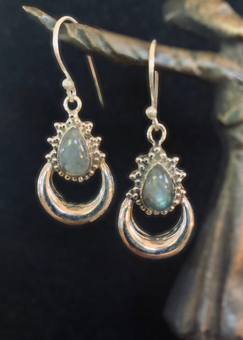 Delicate Labradorite Moon Earrings