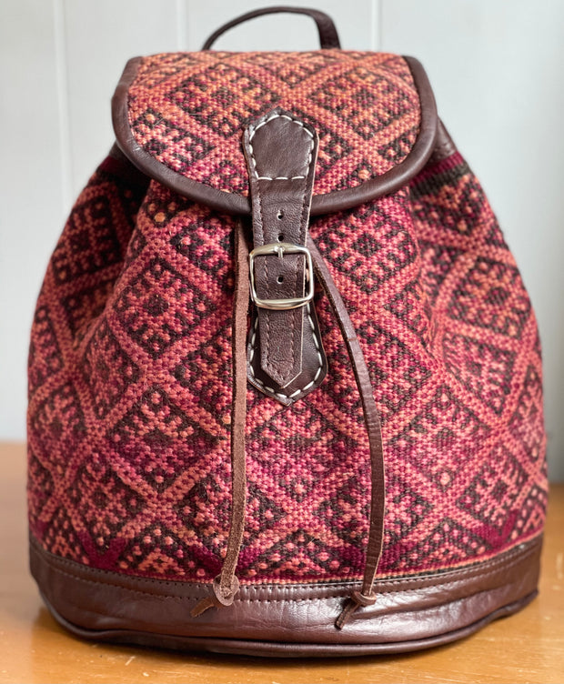 Poppy Red Moroccan Kilim Backpack