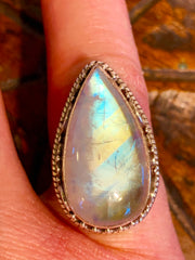 Moonstone Ring - Floating Lotus