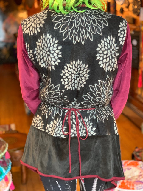 Peony Fleece & Velvet Wrap Jacket - Floating Lotus