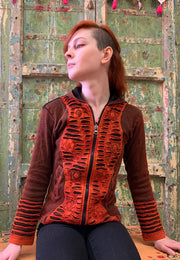 Cotton Patchwork Hoodie - Floating Lotus