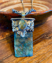 Raw Labradorite Pendant - Floating Lotus