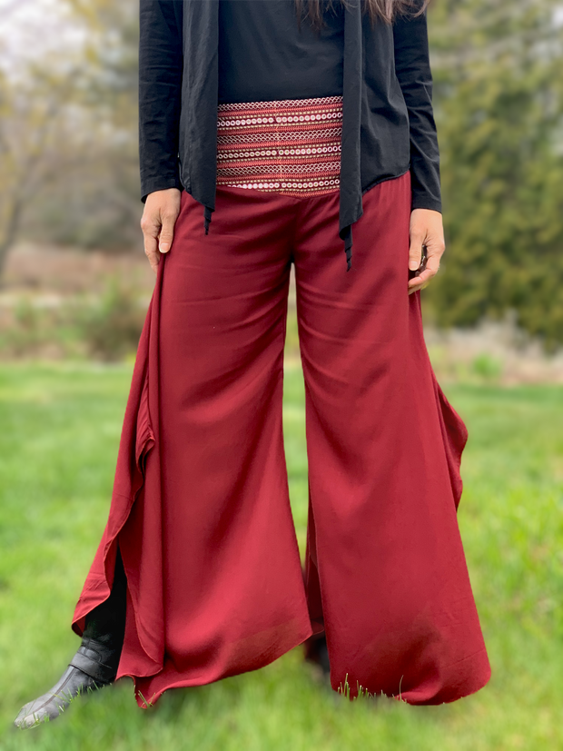 Mirror Embroidered Waist Pants - Floating Lotus