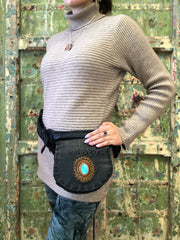 Leather Utility Belt with Turquoise