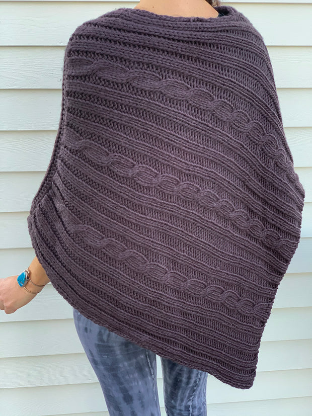 Cable Knit Sweater Poncho