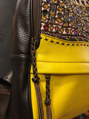 Yellow and Brown Leather Backpack