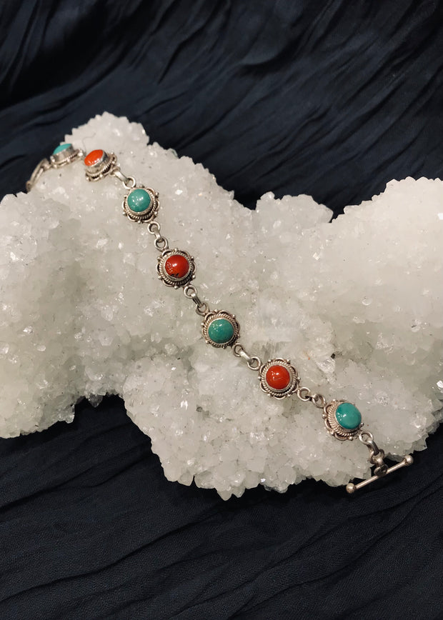 Earth & Sky Turquoise and Coral Bracelet