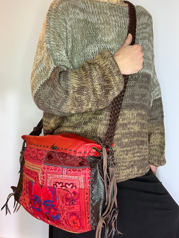 Red Leather and Hmong Textile Thai Handbag