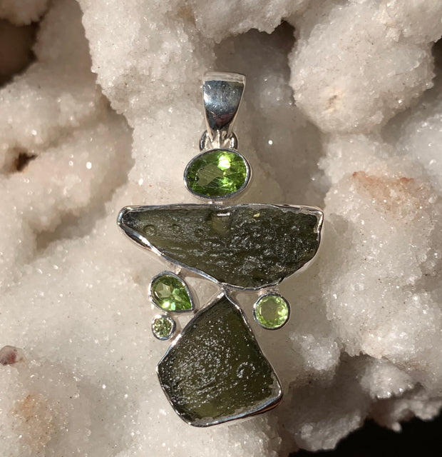 Moldavite and Peridot Pendant - Floating Lotus