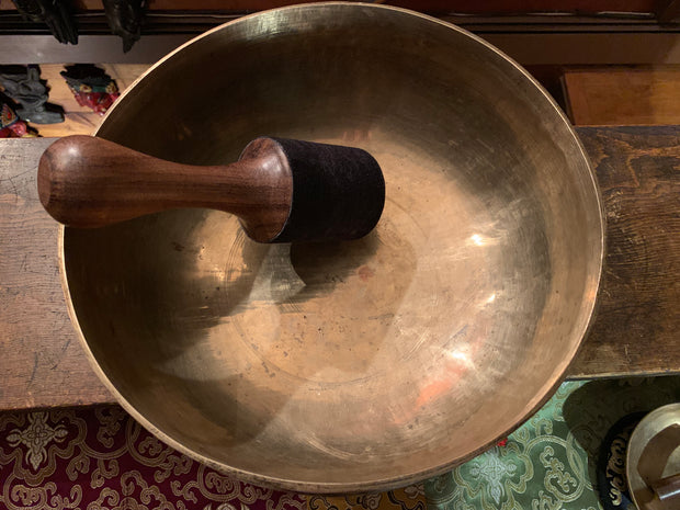 Large Antique Tibetan Singing Bowl - Floating Lotus