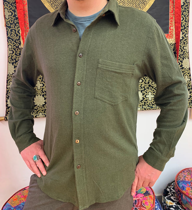 Hemp Shirt Long Sleeve - Floating Lotus