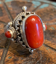 Tibetan Coral Ring - Floating Lotus