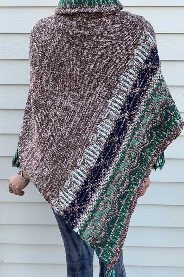 Knitted Poncho Sweater with Tassels