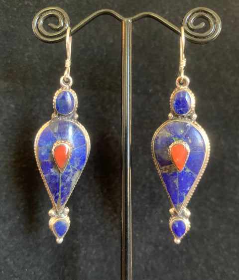Vintage Lapis and Coral Earrings