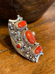 Coral Saddle Ring - Floating Lotus