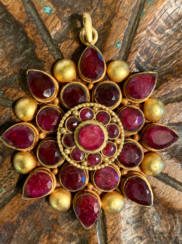 Ruby Pendant in Gold Vermeil - Floating Lotus