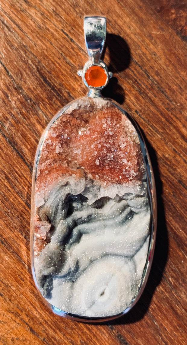 Red Druzy Love Pendant - Floating Lotus