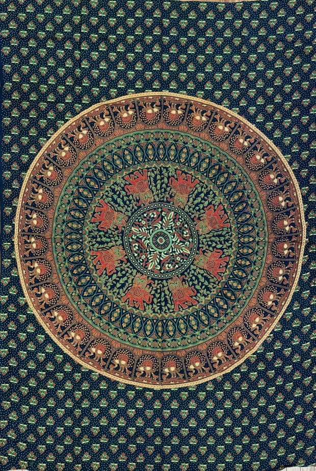Dark Green Elephant Mandala Tapestry - Twin Size