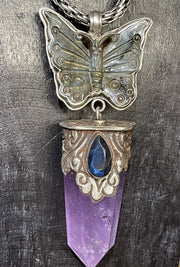 Sold! Amethyst And Labradorite Butterfly Pendant