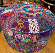 Large Patchwork Pouf Ottoman - Floating Lotus