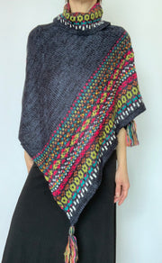 Charcoal Poncho Sweater with Tassels