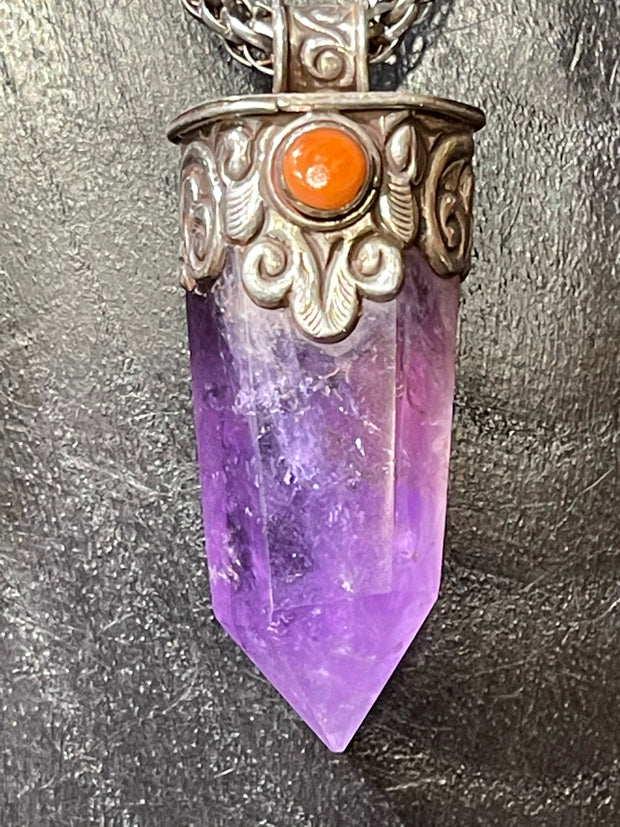 Amethyst and Mountain Coral Pendant