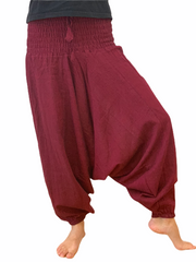 Cotton Drop Crotch Harem Pants - Floating Lotus