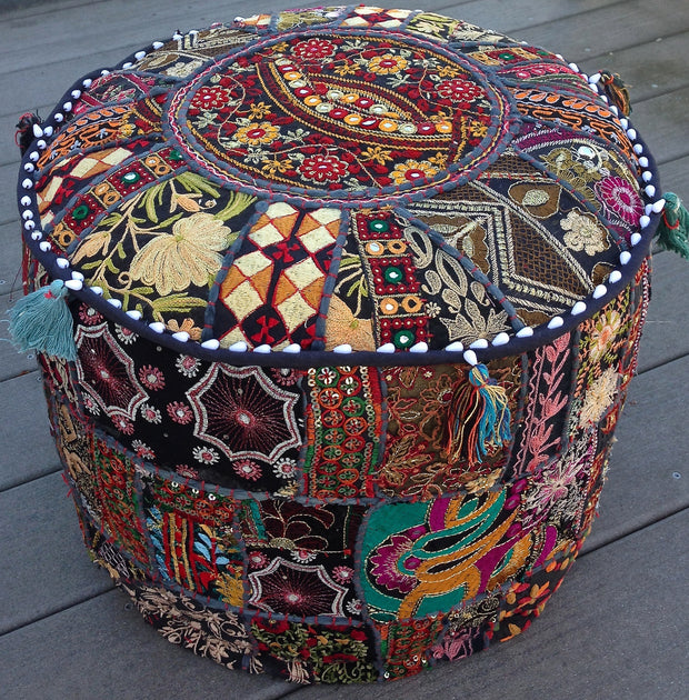 Patchwork Pouf Ottoman - Floating Lotus