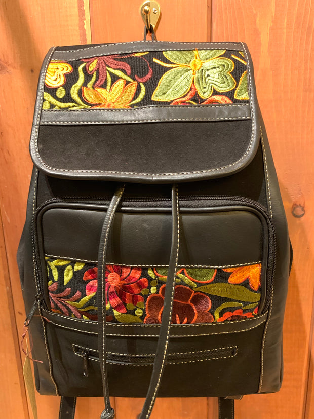 Leather and Suede Backpack Large - Floating Lotus