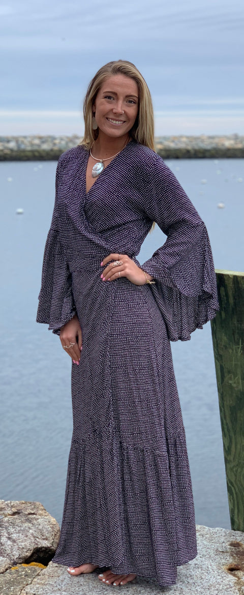 Lanai Long Wrap Dress - Floating Lotus