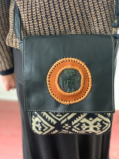 Leather with Jade Shaman Bag - Floating Lotus